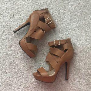 Chestnut strappy heels
